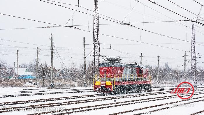 Тепловоз снег зима ГП Донецкая железная дорога Донецкая Народная республика