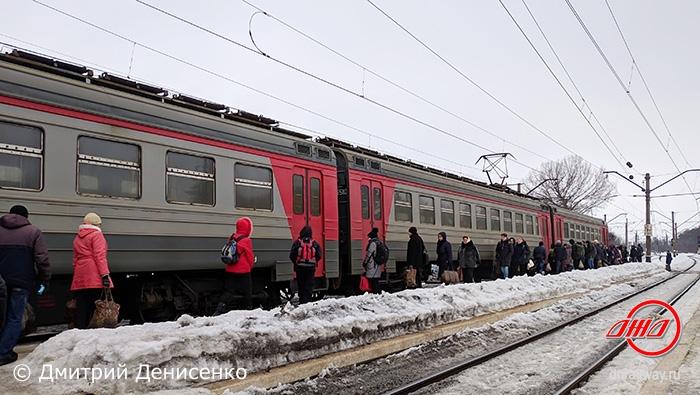 Электричка служба пассажирских перевозок ГП Донецкая железная дорога зима пассажиры пути