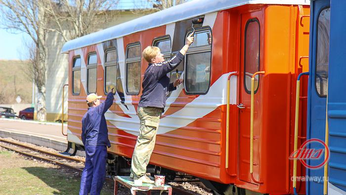 Подготовка вагонов к новому сезону Детская железная дорога ГП Донецкая железная дорога