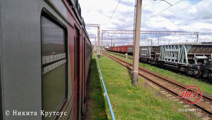 Электричка вид из окна Донецкая ЖД ДНР пути грузовые вагоны трава цветы